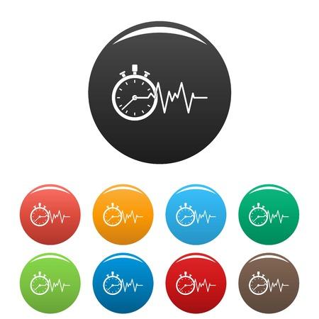 Encephalogram icon. Simple illustration of encephalogram vector icons set color isolated on white Illustration