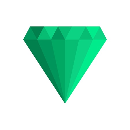 Green gem icon. Flat illustration of green gem vector icon for web.
