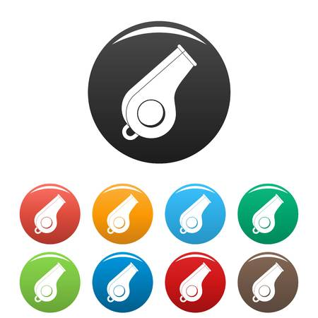 Whistle icon. Simple illustration of whistle vector icons set color isolated on white Illustration