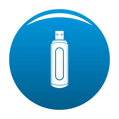 Computer flash drive icon. Simple illustration of computer flash drive vector icon for any design blue
