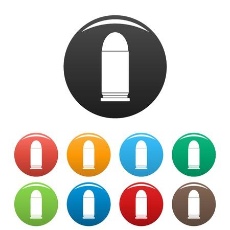 Single cartridge icon. Simple illustration of single cartridge vector icons set color isolated on white Çizim