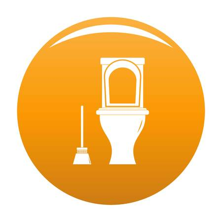 Cleaning toilet icon. Simple illustration of cleaning toilet vector icon for any design orange