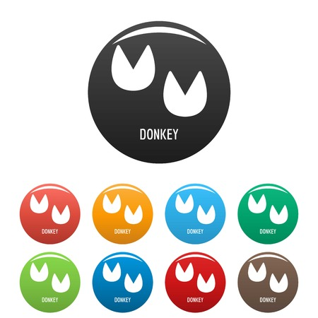 Donkey step icon. Simple illustration of donkey step vector icons set color isolated on white