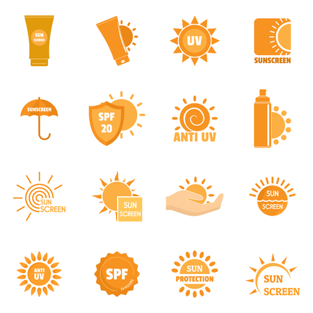 Sunscreen sun protection logo icons set. Flat illustration of 16 sunscreen sun protection logo vector icons for web Vectores