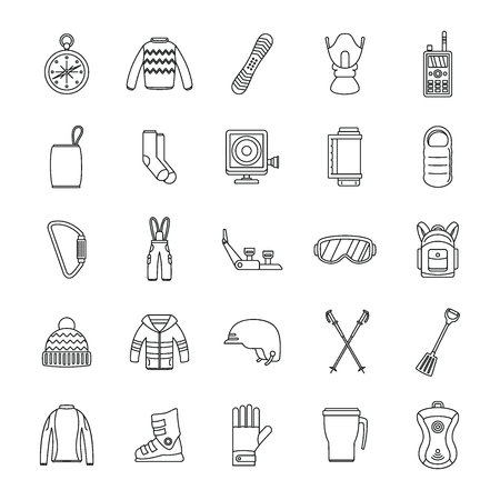 Snowboarding equipment ski winter snow icons set. Outline illustration of 25 snowboarding equipment ski winter snow vector icons for web