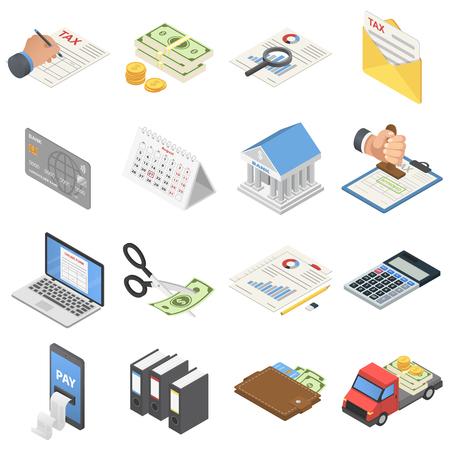 Taxes accounting money icons set. Isometric illustration of 16 taxes accounting money vector icons for web