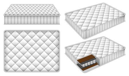 Matratze Bettwäsche Bett Modell gesetzt. Realistische Illustration von 4 Matratze Bettwäsche Bett Modelle für Web