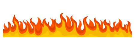 Burning fire flame banner horizontal. Flat illustration of vector burning fire flame banner horizontal for web design Çizim