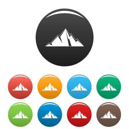 Pointing mountain icon. Simple illustration of pointing mountain vector icons set color isolated on white