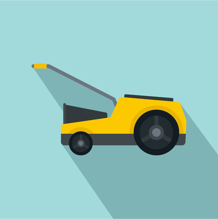 Lawn mower icon. Flat illustration of lawn mower vector icon for web design