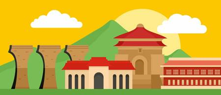 Capital of Taiwan banner horizontal. Flat illustration of vector capital of Taiwan banner horizontal for web design