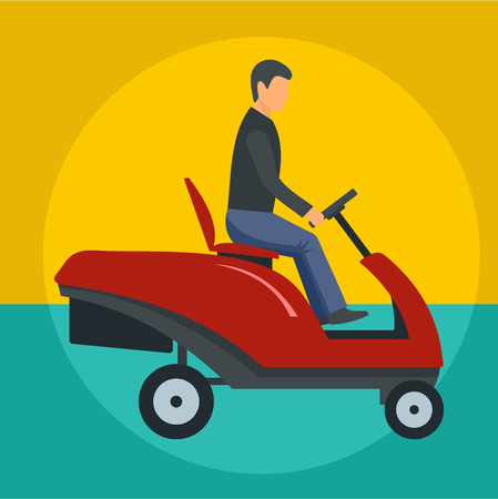 Man at grass cutting machine icon. Flat illustration of man at grass cutting machine vector icon for web design