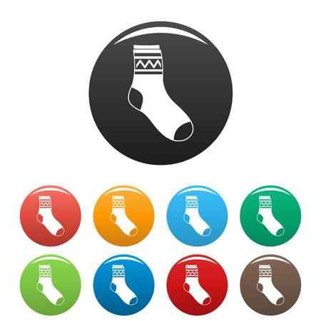 Fabric sock icon. Simple illustration of fabric sock vector icons set color isolated on white