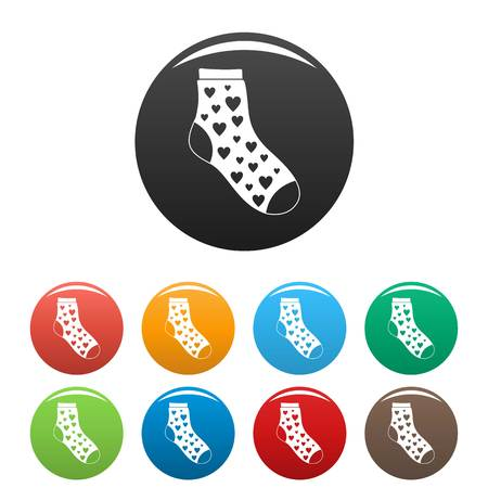 Sock with heart icon. Simple illustration of sock with heart vector icons set color isolated on white