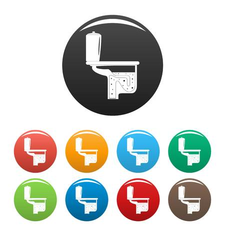 Toilet equipment icon. Simple illustration of toilet equipment vector icons set color isolated on white Illustration
