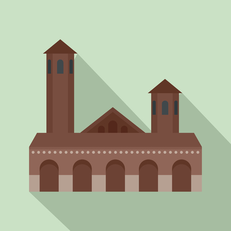 Old building icon. Flat illustration of old building vector icon for web design