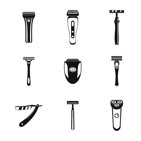 Shaver blade razor personal icons set. Simple illustration of 9 shaver blade razor personal vector icons for web