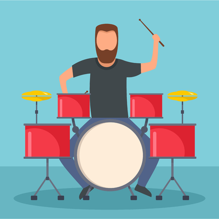 Rock drummer icon. Flat illustration of rock drummer vector icon for web design