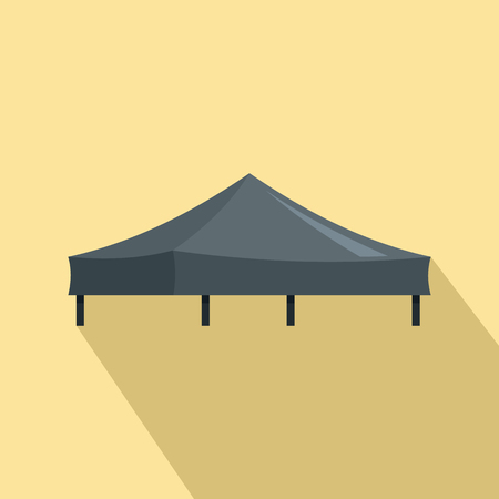 Black tent icon. Flat illustration of black tent vector icon for web design Ilustracja