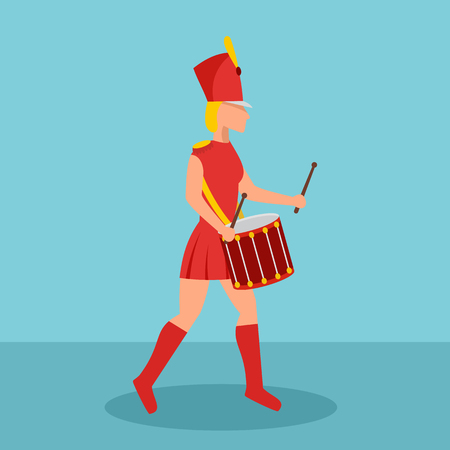 Woman drummer icon. Flat illustration of woman drummer vector icon for web design Illustration