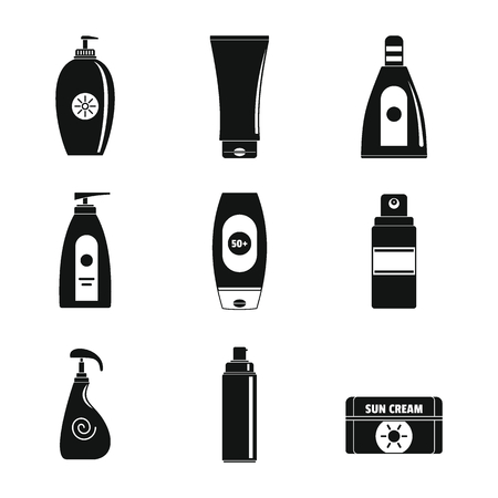 Sunscreen sun protection  icons set. Simple illustration of 9 sunscreen sun protection  vector icons for web 일러스트