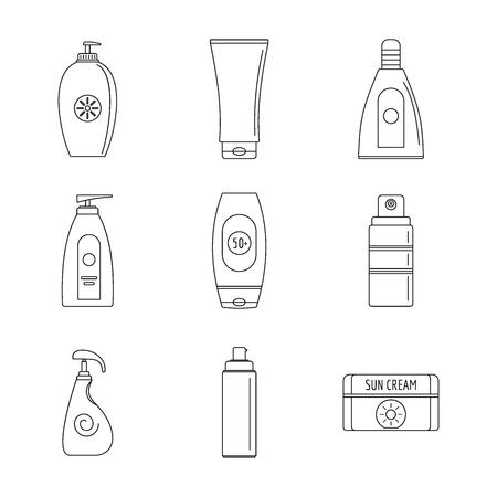 Sunscreen sun protection logo icons set. Outline illustration of 9 sunscreen sun protection logo vector icons for web