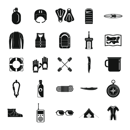 Rafting kayak water canoe icons set. Simple illustration of 25 rafting kayak water canoe vector icons for web
