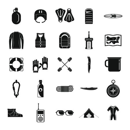 Rafting kayak water canoe icons set. Simple illustration of 25 rafting kayak water canoe vector icons for web