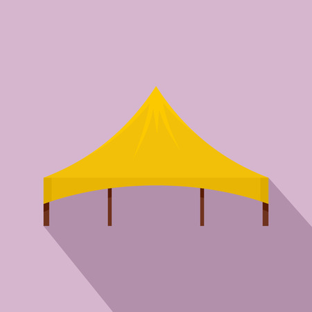Yellow tent icon. Flat illustration of yellow tent vector icon for web design