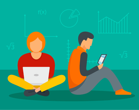 Man and girl gadget learning background. Flat illustration of man and girl gadget learning vector background for web design