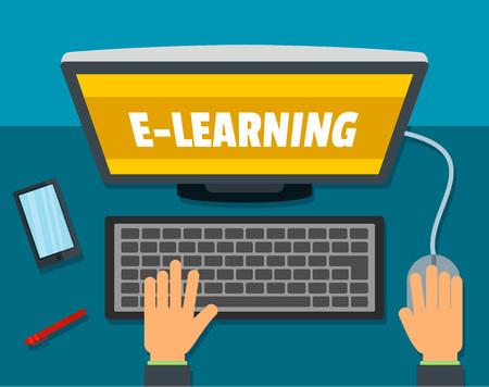 E-learning background. Flat illustration of e-learning vector background for web design