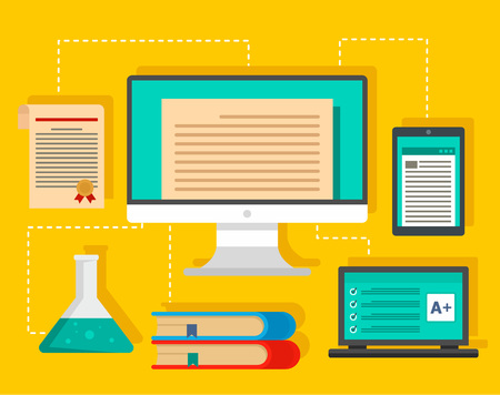 Type of learning background. Flat illustration of type of learning vector background for web design