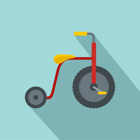 Red tricycle icon. Flat illustration of red tricycle vector icon for web design Stock Illustratie