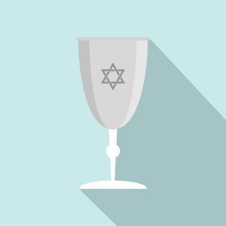 Silver judaism cup icon. Flat illustration of silver judaism cup vector icon for web design