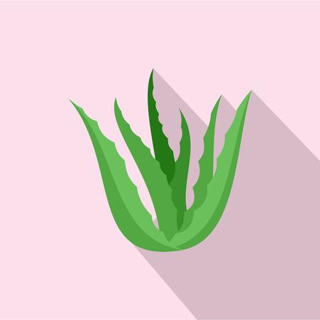 Green aloe vera icon. Flat illustration of green aloe vera vector icon for web design  イラスト・ベクター素材