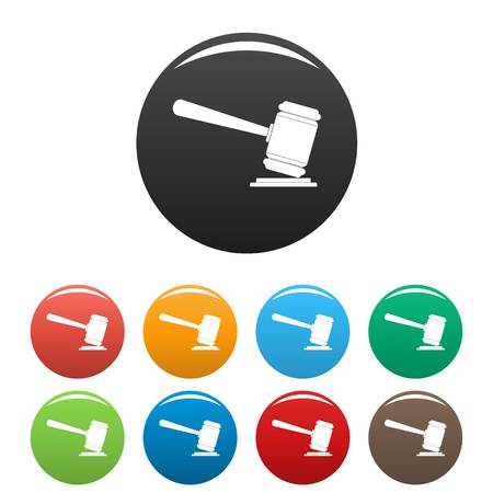 Judge gavel icon. Simple illustration of judge gavel vector icons set color isolated on white