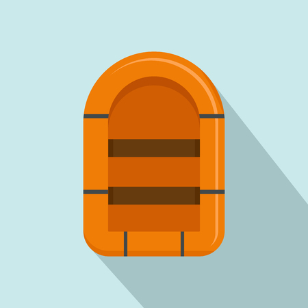 Rubber boat icon. Flat illustration of rubber boat vector icon for web design