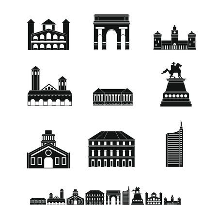 Milan Italy city skyline icons set. Simple illustration of 9 Milan Italy city skyline vector icons for web Illustration