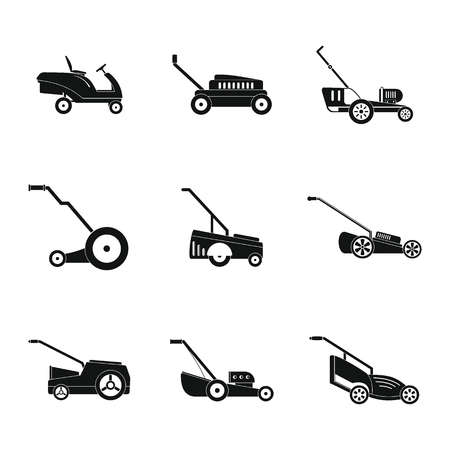 Lawnmower grass garden icons set. Simple illustration of 9 lawnmower grass garden vector icons for web