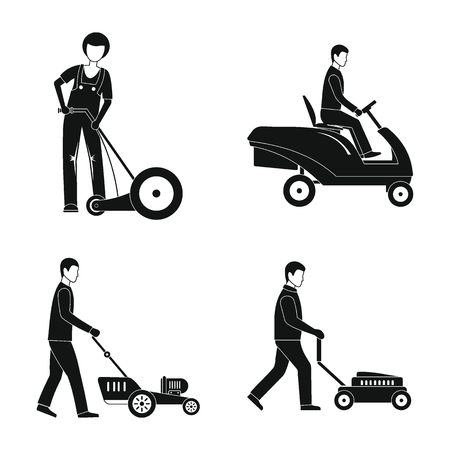 Lawnmower service man icons set. Simple illustration of 4 lawnmower service man vector icons for web Stock Illustratie