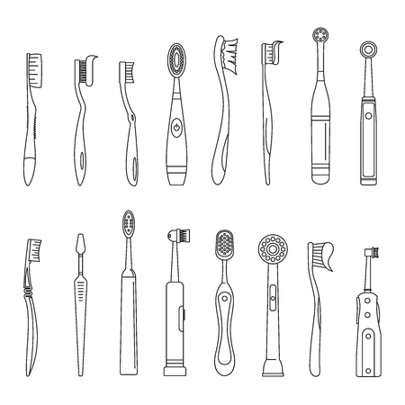 Toothbrush dental icons set. Outline illustration of 16 toothbrush dental icons for web