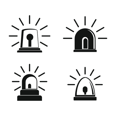 Flasher siren icons set. Simple illustration of 4 flasher siren icons for web Illustration