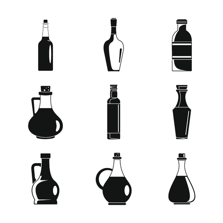 Vinegar bottle icons set. Simple illustration of 9 vinegar bottle icons for web
