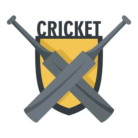 Cricket crossed bats icon. Flat illustration of cricket crossed bats vector icon for web design isolated on white background Иллюстрация