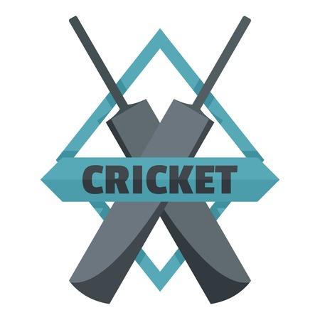 Crossed bats cricket icon. Flat illustration of crossed bats cricket vector icon for web design isolated on white background