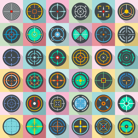 Crosshair target scope sight icons set. Flat illustration of 36 crosshair target scope sight vector icons for web