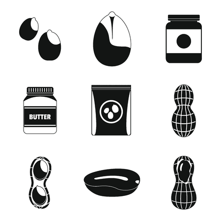 Peanut nuts butter jar icons set. Simple illustration of 9 peanut nuts butter jar vector icons for web