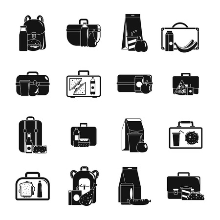 Lunchbox food icons set. Simple illustration of 16 lunchbox food vector icons for web