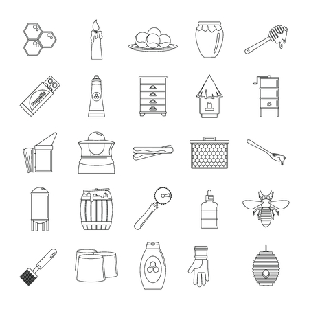 Propolis honey royal jelly icons set. Outline illustration of 25 propolis honey royal jelly vector icons for web