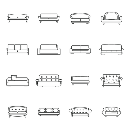 Sofa chair room couch icons set. Outline illustration of 16 sofa chair room couch vector icons for web Иллюстрация